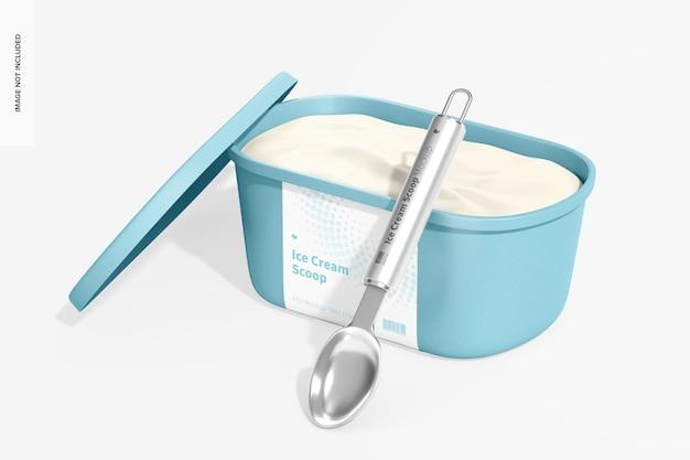 Ice cream scoop mockup, gelehnt