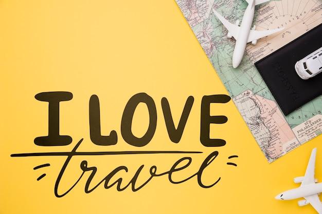 Ich liebe reisen und beschrifte konzept für das reisen