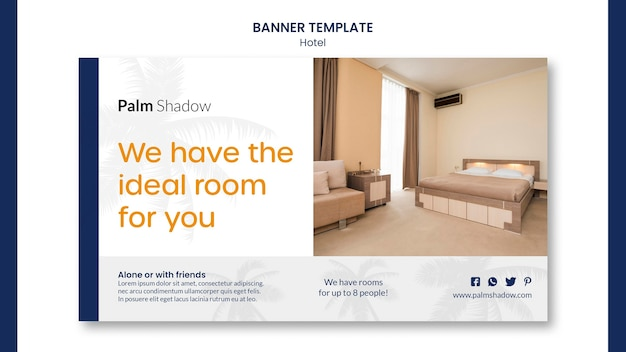 Ideale hotelzimmer banner web vorlage