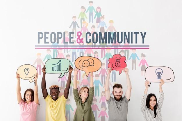 Ideen in der rede sprudeln menschen und gemeinschaft