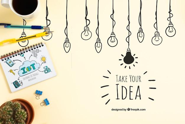 Ideenkonzept mit notizbuch