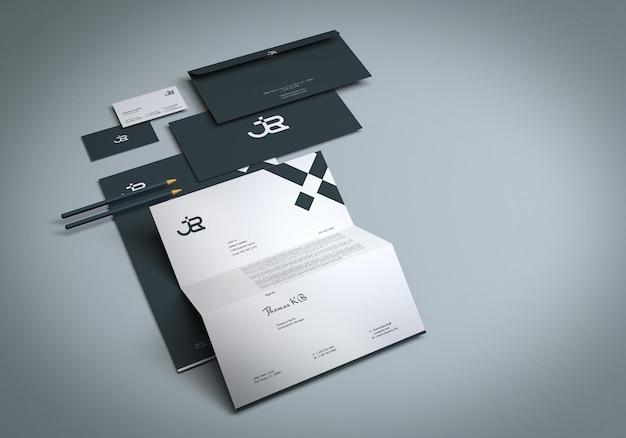 Identitäts-branding-briefpapier-mockup-design