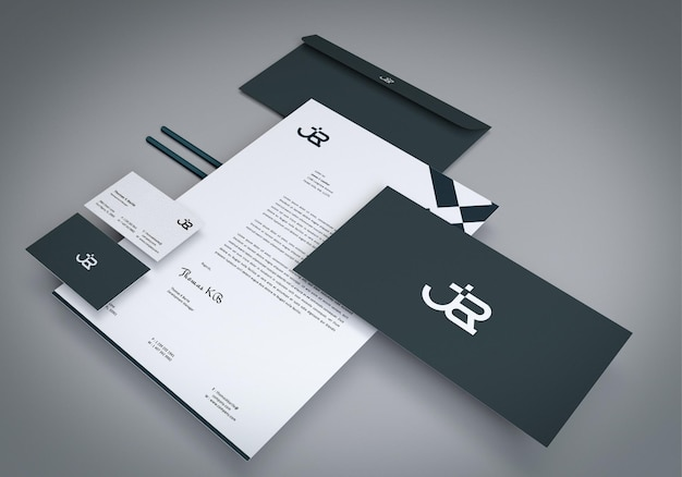 Identitäts-branding-briefpapier-mockup