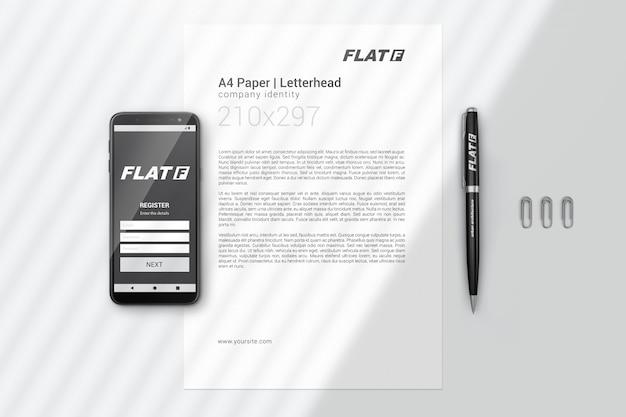 Identity branding-briefpapiermodell