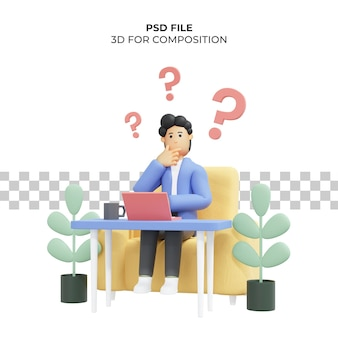 Illustration 3d eines mannes, der an eine idee denkt, die auf einem stuhl sitzt premium psd