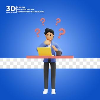 Illustration 3d eines mannes, der an eine idee denkt premium psd