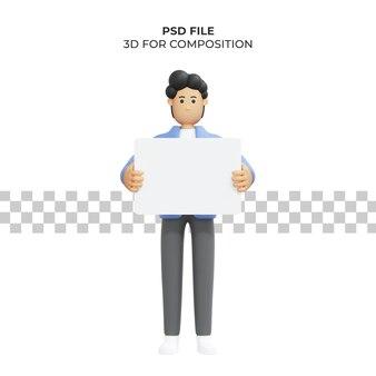 Illustration 3d eines mannes, der ein brett trägt premium psd