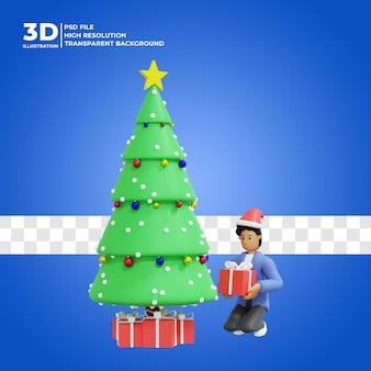 Illustration 3d eines mannes, der zu hause weihnachten feiert premium psd