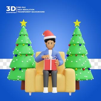 Illustration 3d eines mannes, der zu hause weihnachtsgeschenke öffnet premium psd