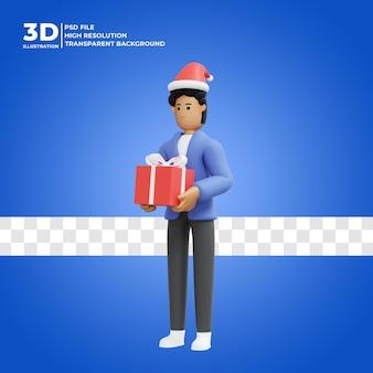 Illustration 3d eines mannes, der zu hause weihnachtsgeschenke trägt premium psd
