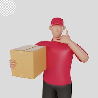 Illustration 3d eines zustellers, der ein rotes hemd trägt, das die waren eines kunden hält. premium-psd