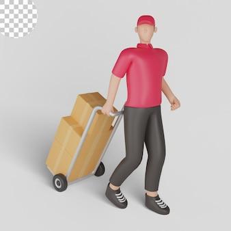 Illustration 3d eines zustellers, der ein rotes hemd trägt, das eine sendung trägt. premium-psd