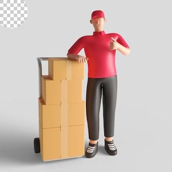 Illustration 3d eines zustellers, der ein rotes hemd trägt und eine sendung überprüft. premium-psd