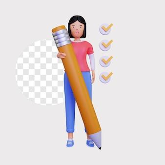 Illustration der checkliste 3d mit einer weiblichen figur, die einen großen bleistift hält