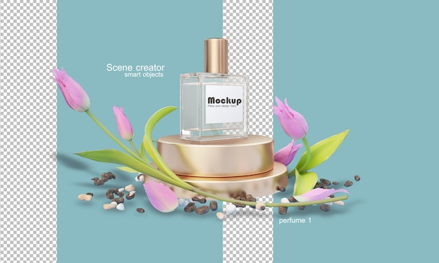 Illustration der parfümflasche 3d unter blumen