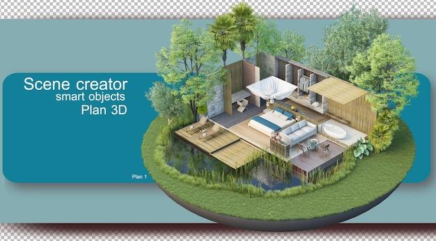 Illustration des inneren grundrisses und der architektur