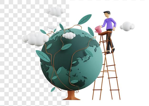 Illustrationskonzept des umwelttages 3d mit dem mann, der die treppe steigt