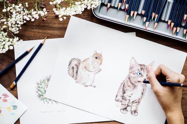 Illustrator, der entzückendes tierarbeitsplatzkonzept färbt