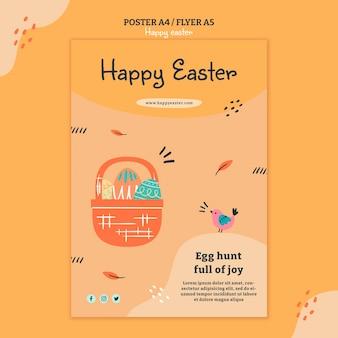 Illustrierte flyer-schablone des glücklichen ostertages