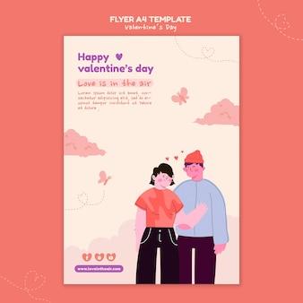 Illustrierte flyer-vorlage zum valentinstag