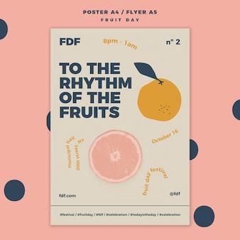 Illustrierte fruchttagesfliegerschablone