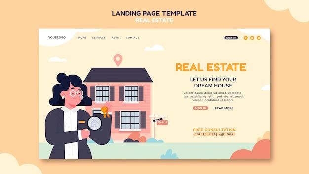 Illustrierte immobilien-landingpage