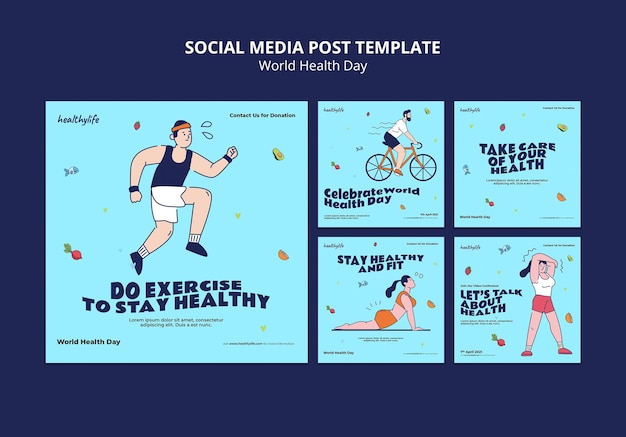 Illustrierte instagram-beiträge zum weltgesundheitstag