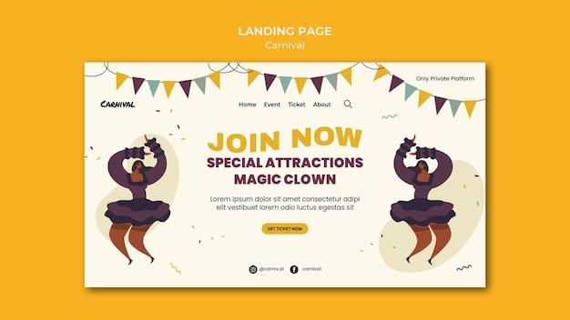 Illustrierte karnevals-landingpage-vorlage