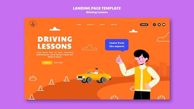 Illustrierte landingpage-vorlage für die fahrschule