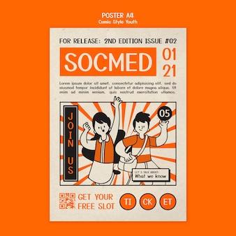 Illustrierte plakatschablone im comic-stil