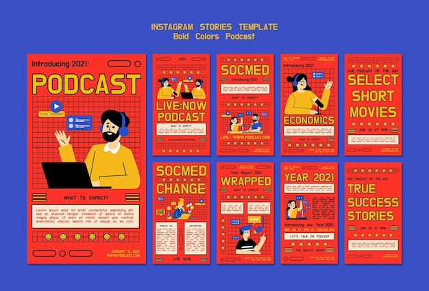 Illustrierte podcast-social-media-geschichten