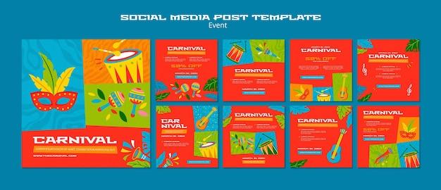 Illustrierte vorlage für karnevals-instagram-beiträge