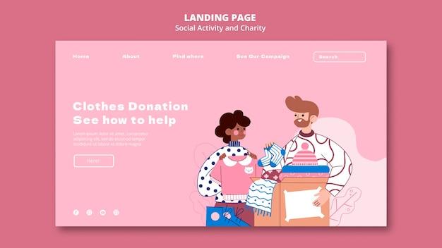 Illustrierte webvorlage für soziale aktivitäten und wohltätigkeit