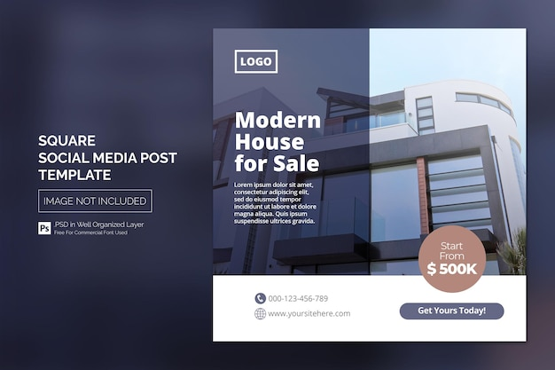 Immobilien haus eigentum instagram post oder square web banner werbevorlage