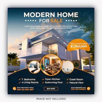 Immobilien haus immobilien instagram-post oder quadratische web-banner-vorlage