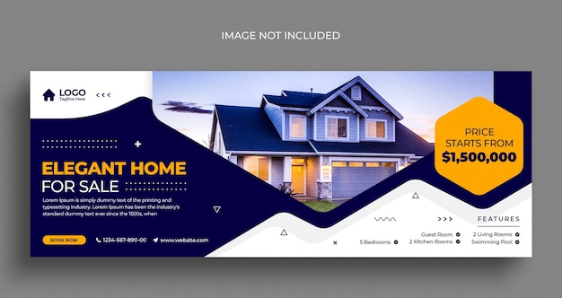 Immobilien haus immobilien social media instagram webbanner oder facebook cover vorlage