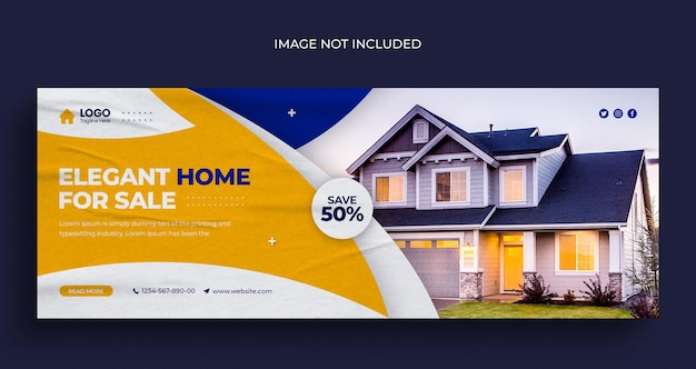 Immobilien haus immobilien social media web-banner-flyer und facebook-cover-foto-design-vorlage