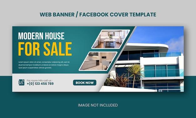 Immobilien modernes haus, das webbanner oder facebook-cover verkauft