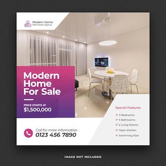 Immobilien modernes haus zum verkauf social-media-banner und quadratische flyer-vorlage