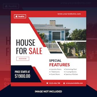 Immobilien quadratische banner vorlage
