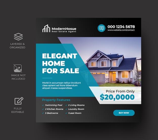 Immobilien social media banner oder quadratische flyer vorlage