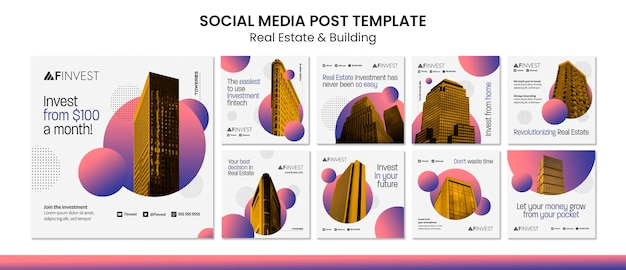 Immobilien und aufbau von social-media-posts