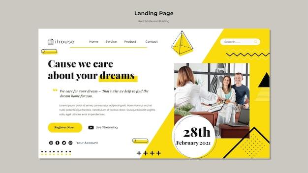 Immobilien- und gebäude-landingpage-vorlage