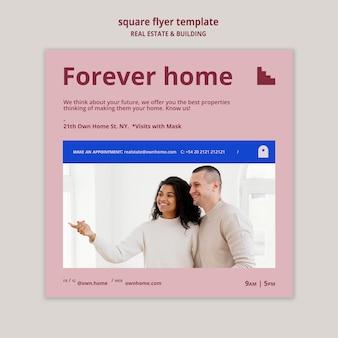 Immobilien und gebäude quadratische flyer vorlage