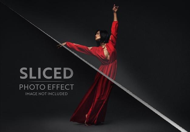 In scheiben geschnittener fotoeffekt mockup