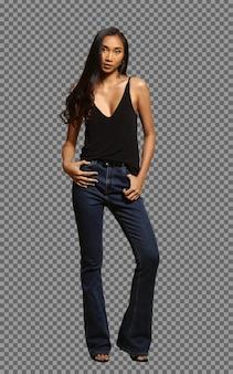 In voller länge körper 20er jahre asiatische lange gerade schwarze haare gebräunte hautfrau trägt einen riesigen jeanshosenstand, modemädchen posiert mit starkem gefühlsausdruck auf weißem hintergrund isoliert
