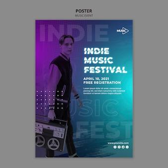 Indie musikfestival plakatvorlage