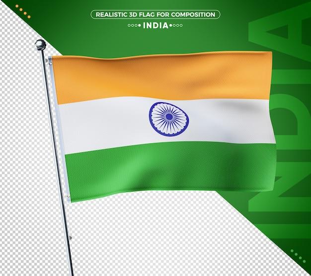 Indien 3d-flagge mit realistischer textur