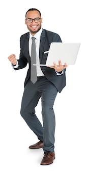 Indischer asiatischer mann-geschäfts-laptop-erfolg