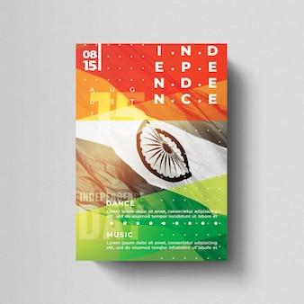 Indischer unabhängigkeitstag flyer vorlage